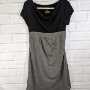 Liz Lange Black/Gray Cowl Necked Maternity Dress